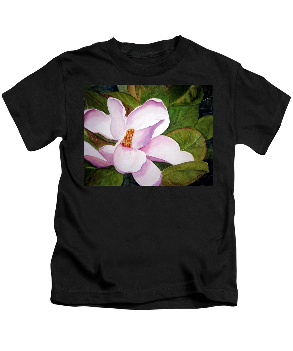 Flower Kids T-Shirt featuring the painting Magnolia Blossom by Julia RIETZ