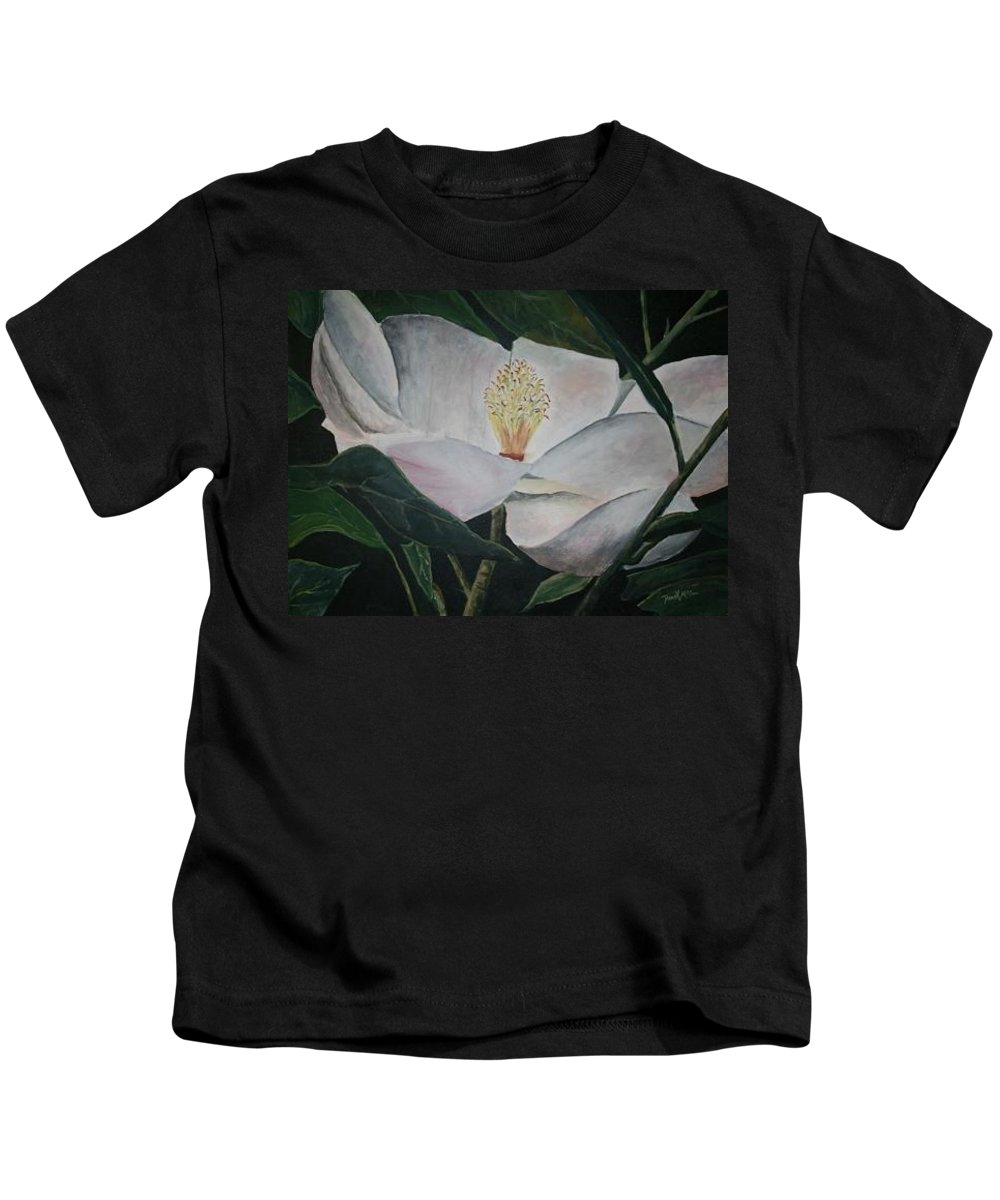 Oils Kids T-Shirt featuring the painting Magnolia Flower Oil Painting by Derek Mccrea