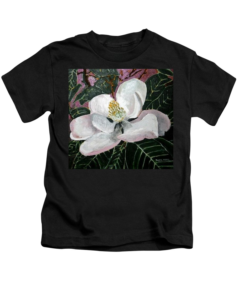 Acrylic Kids T-Shirt featuring the painting Magnolia Flower Painting by Derek Mccrea