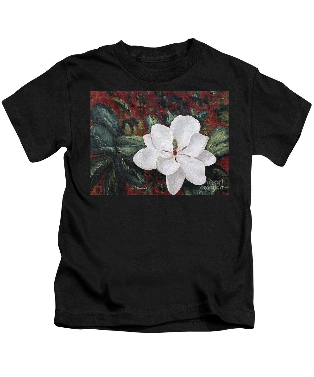 Flower Kids T-Shirt featuring the painting Magnolia by Todd Blanchard