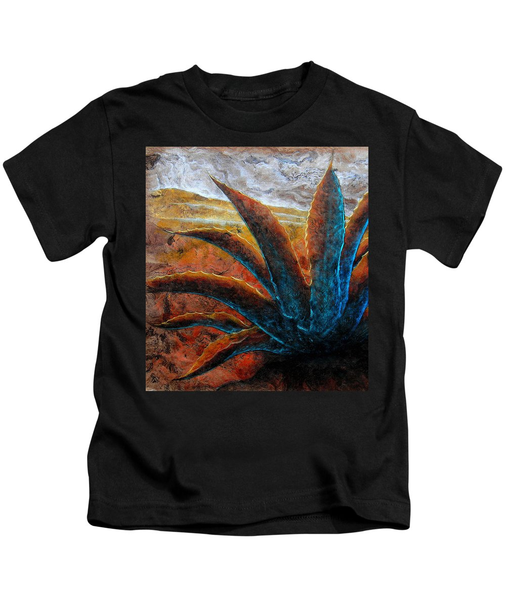 Maguey Paintings Kids T-Shirt featuring the painting A . G . A . V . E by J - O  N  E