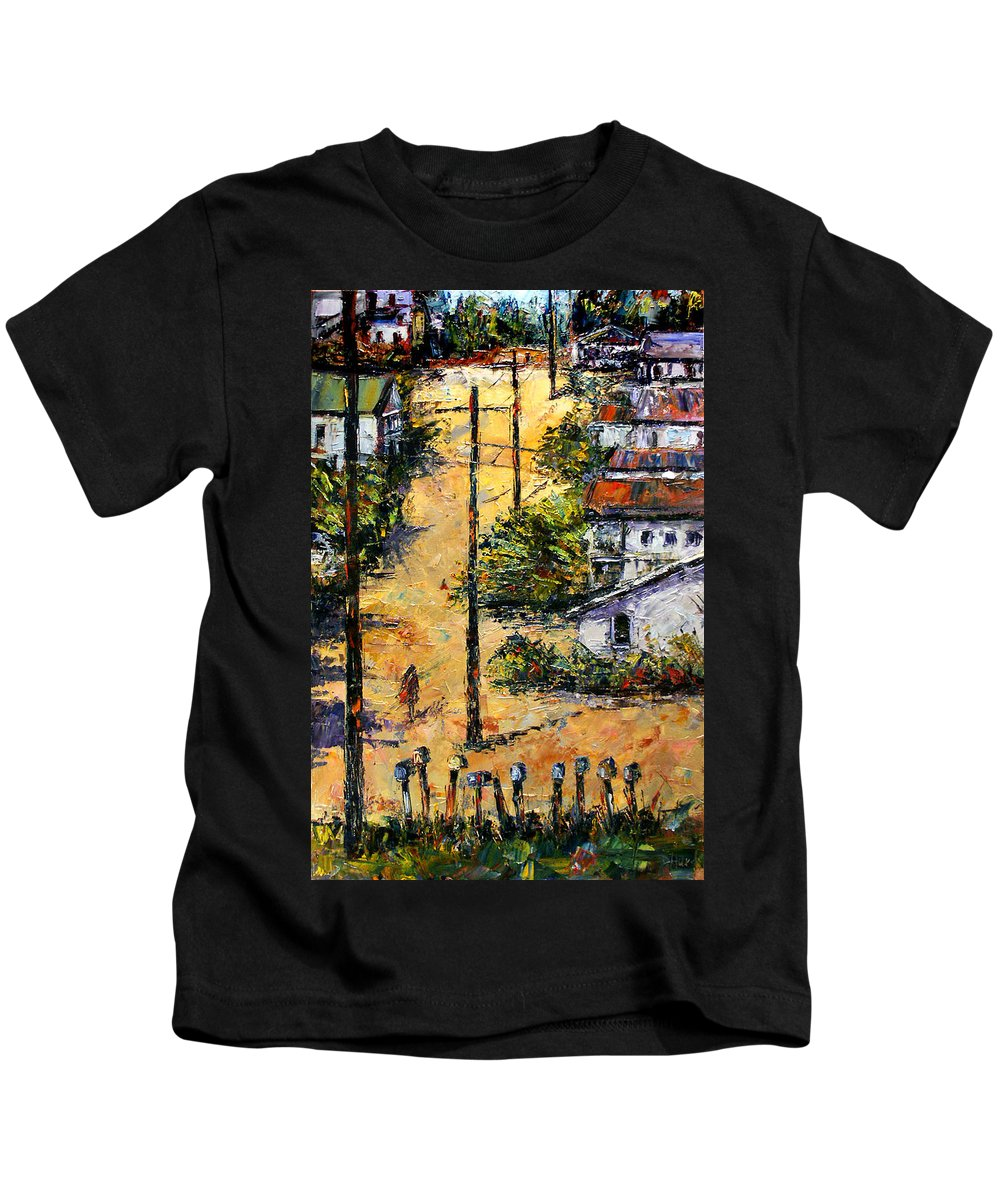 Chavez Revine Kids T-Shirt featuring the painting Mail Boxes Chavez Revine by Debra Hurd