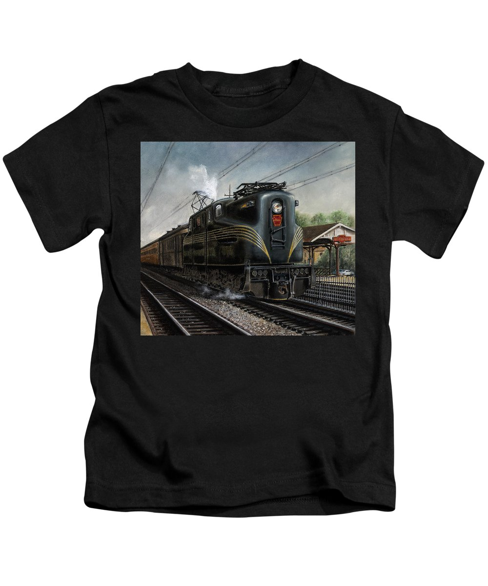 Trains Kids T-Shirt featuring the painting Mainline Memories by David Mittner