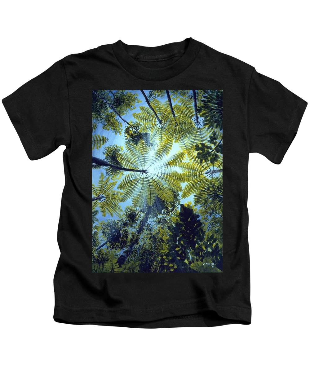 Chris Cox Kids T-Shirt featuring the painting Majestic Treeferns by Christopher Cox