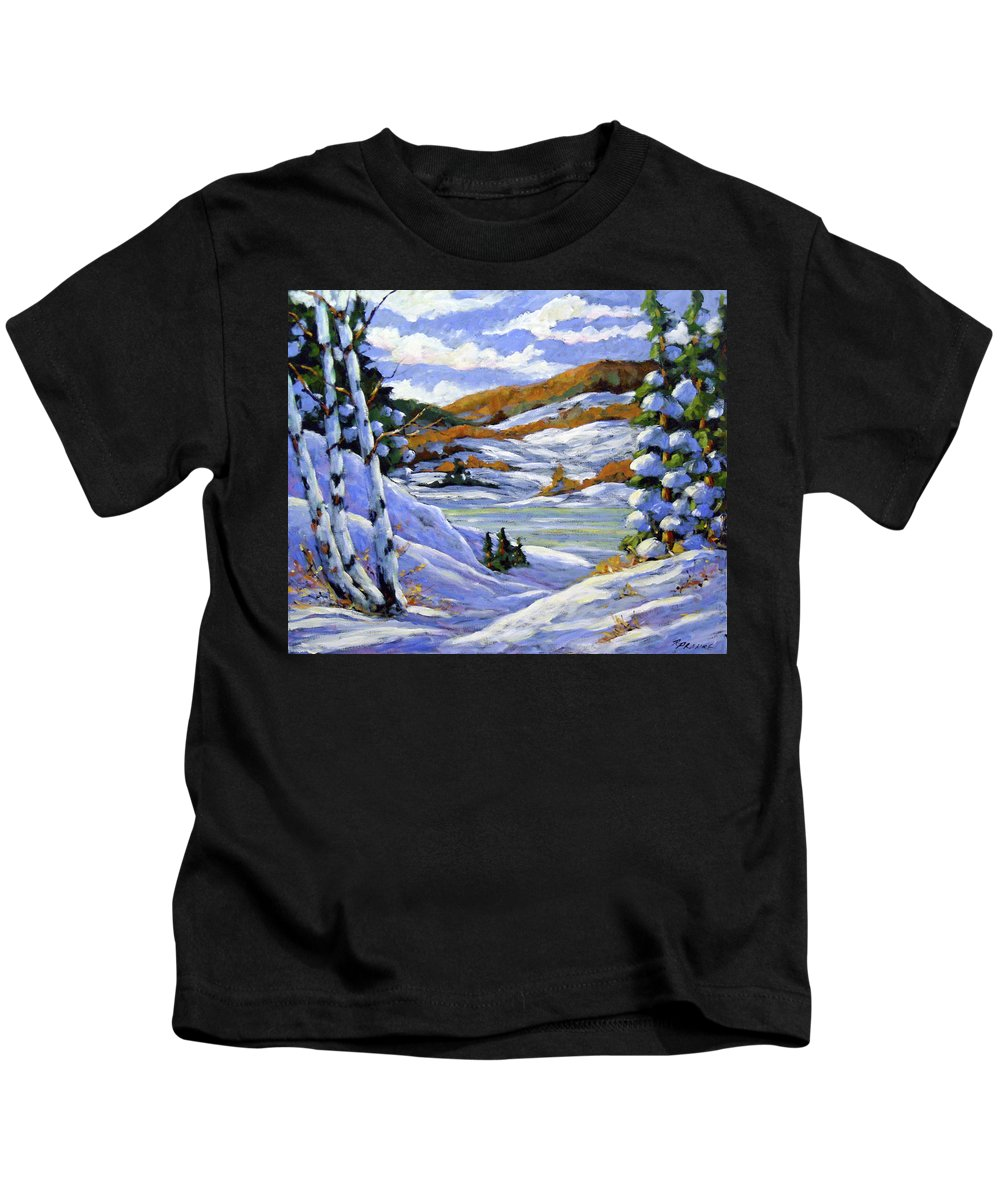 Art Kids T-Shirt featuring the painting Majestic Winter by Richard T Pranke