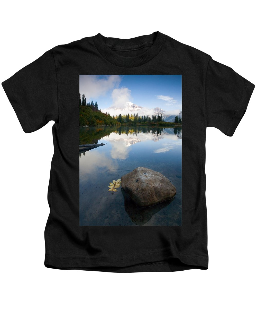 Rainier Kids T-Shirt featuring the photograph Majesty Hidden by Mike Dawson