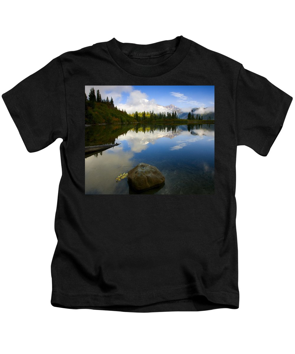 Mt. Rainier Kids T-Shirt featuring the photograph Majesty Revealed by Mike Dawson
