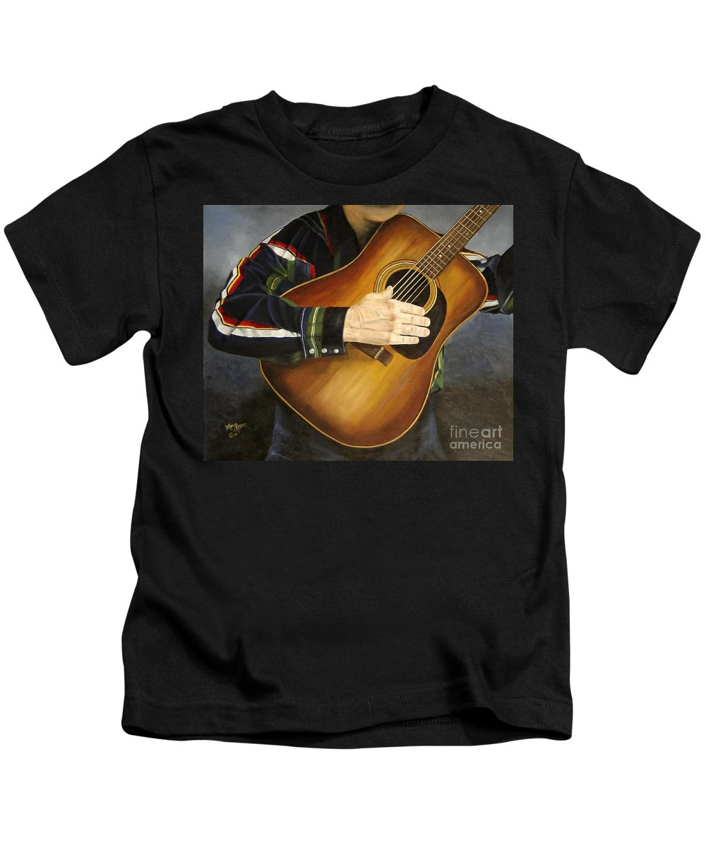 Usa Kids T-Shirt featuring the painting Making Music by Mary Rogers