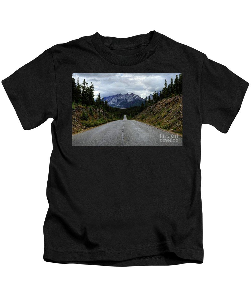 #photogtipsandtricks Kids T-Shirt featuring the photograph Maligne Lake Road Jasper National Park by Wayne Moran
