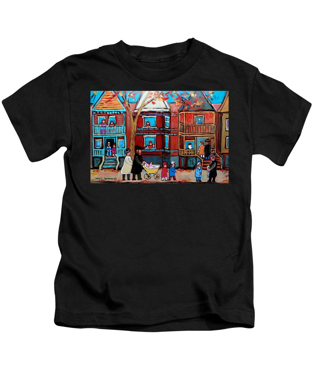 Hassidic Community Kids T-Shirt featuring the painting Mama Papa And New Baby by Carole Spandau