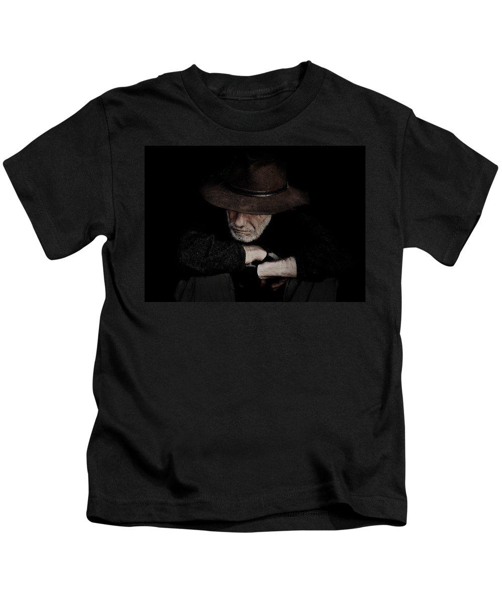 Akubra Kids T-Shirt featuring the photograph Man in akubra hat by Sheila Smart Fine Art Photography