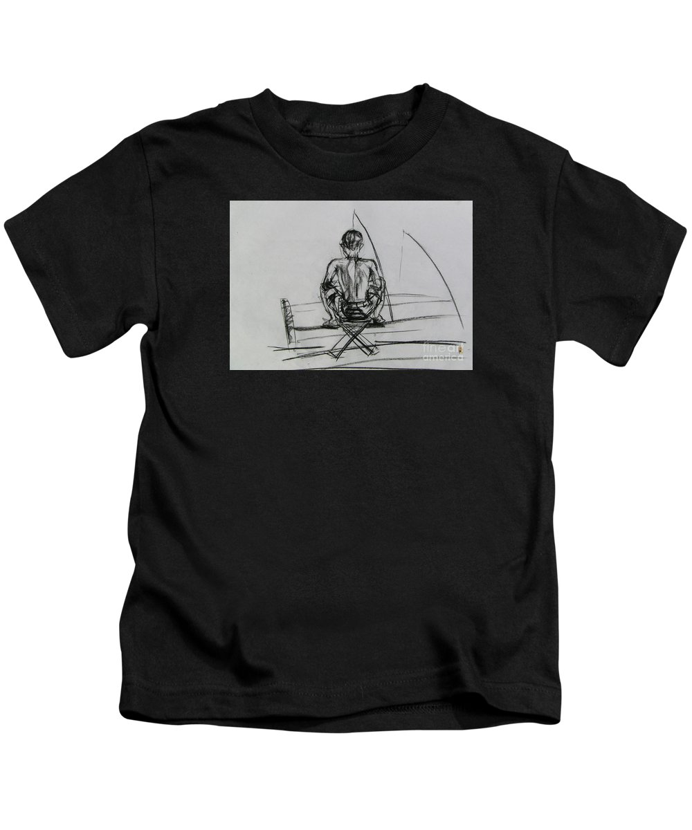 Kids T-Shirt featuring the drawing Man In The Fishing Game by Sukalya Chearanantana