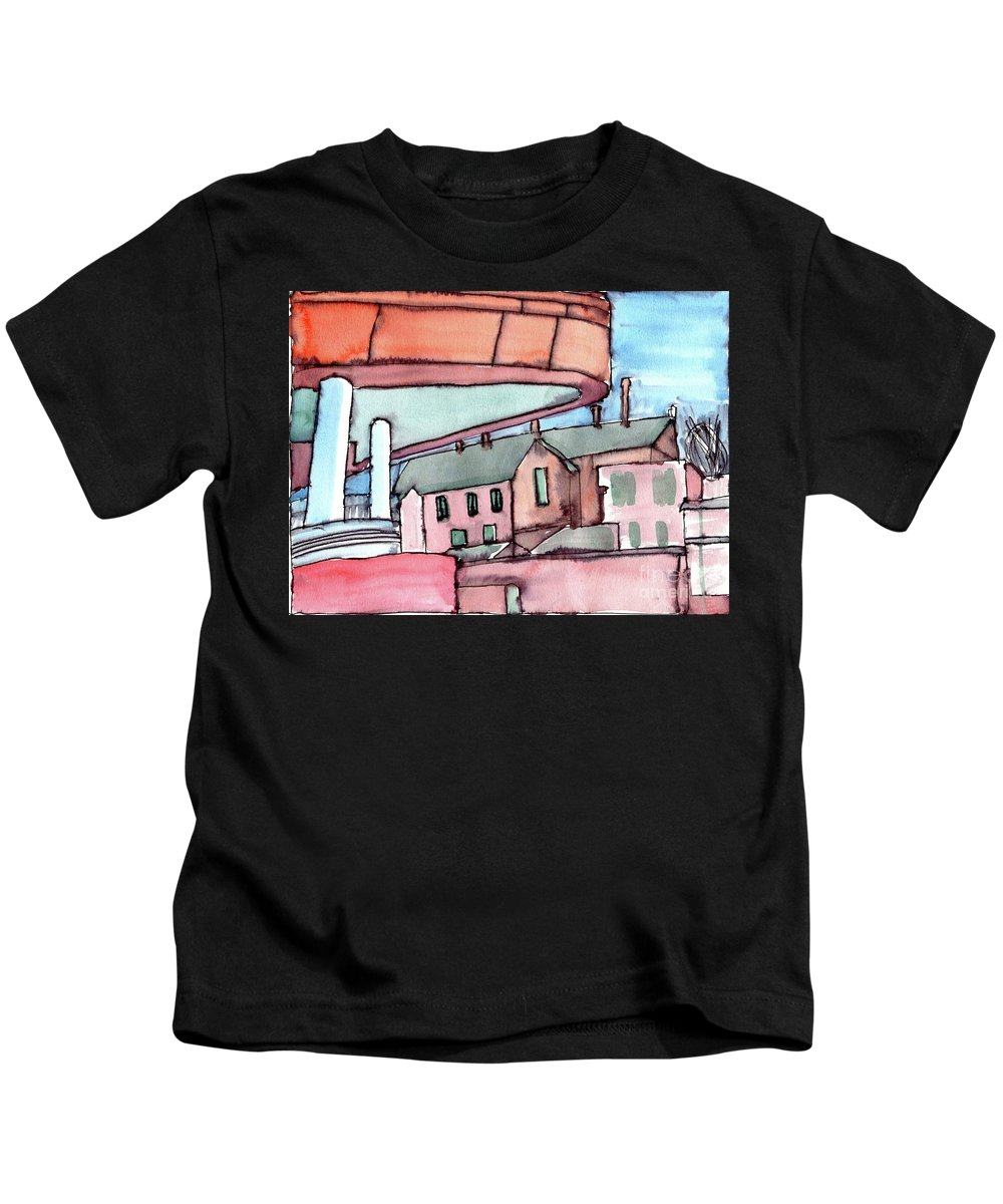 Original Watercolour Painting Kids T-Shirt featuring the painting Manchester Chethams 1 by Elizabetha Fox