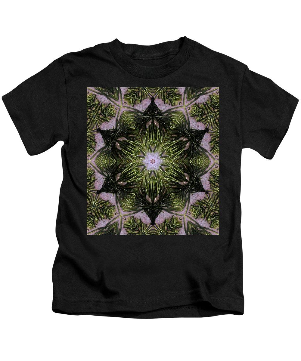 Mandala Kids T-Shirt featuring the digital art Mandala Sea Sponge by Nancy Griswold