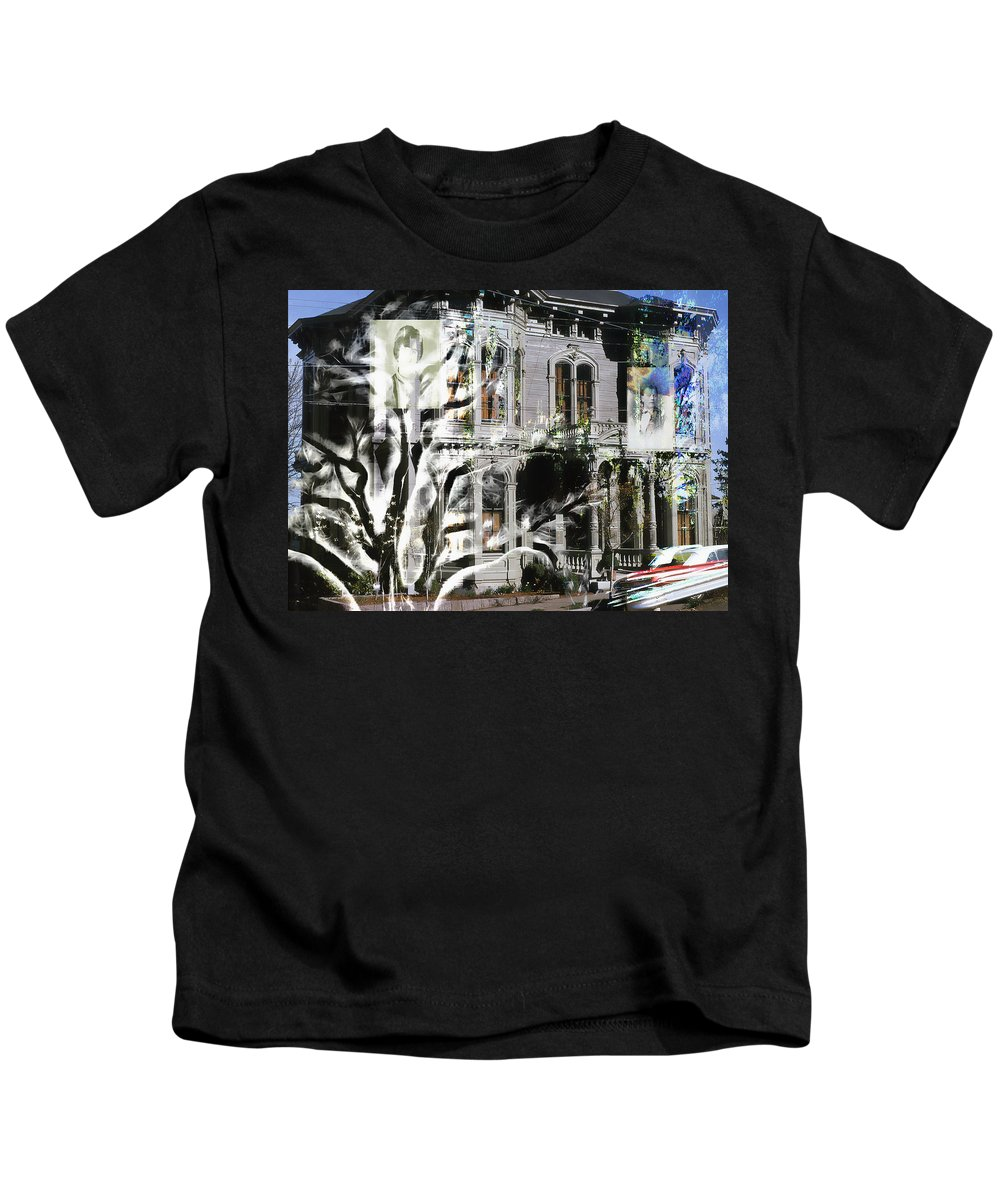 Kids T-Shirt featuring the digital art Mansion Of Obsession by Cathy Anderson
