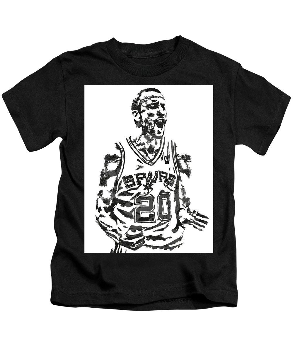 uk availability e0543 e69e8 Manu Ginobili San Antonio Spurs Pixel Art 4 Kids T-Shirt