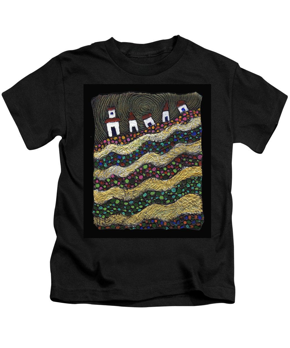 Folk Art Kids T-Shirt featuring the painting Many Paths Lead To The Top by Wayne Potrafka