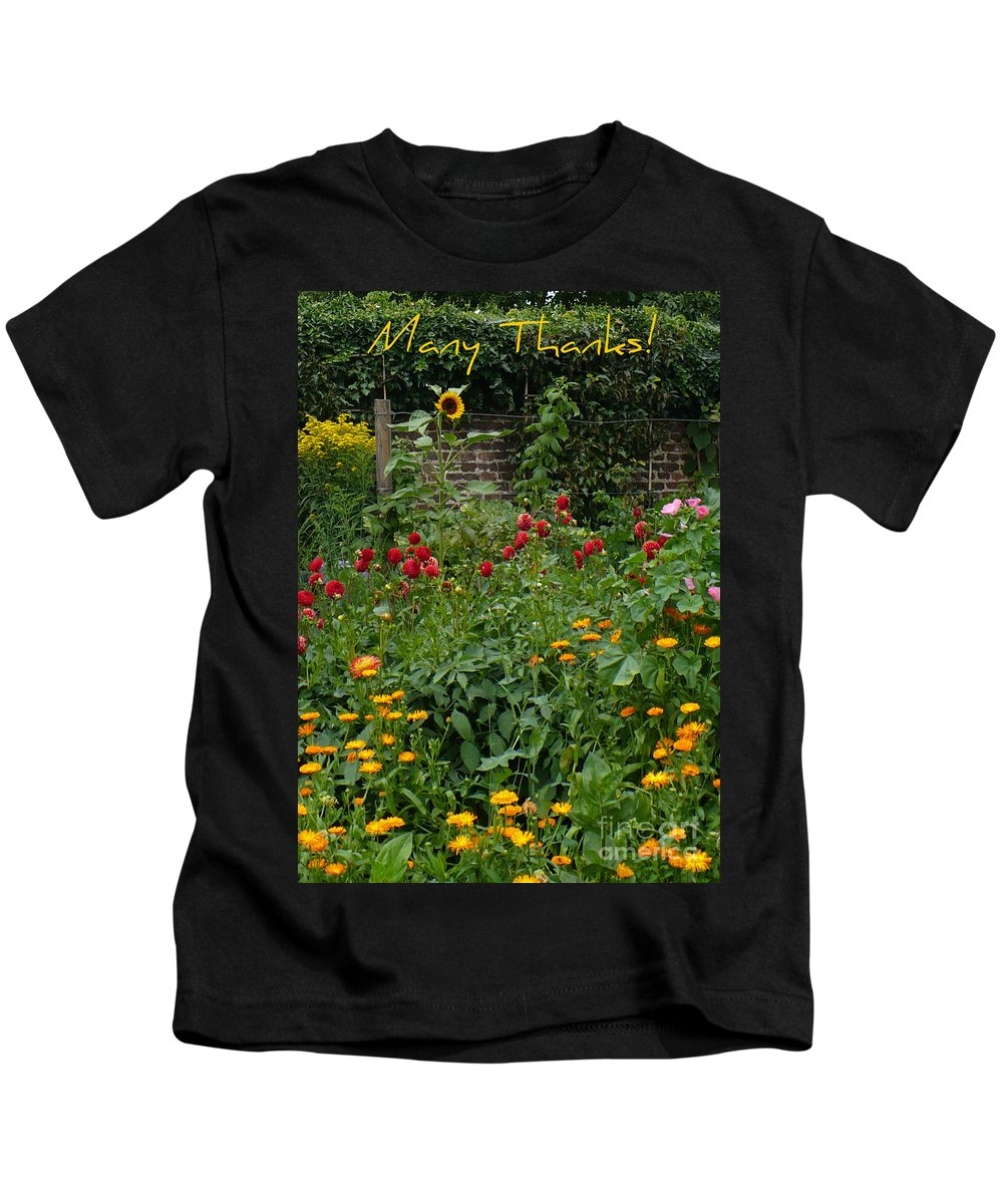 Thank You Card Kids T-Shirt featuring the greeting card Many Thanks Card by Carol Groenen