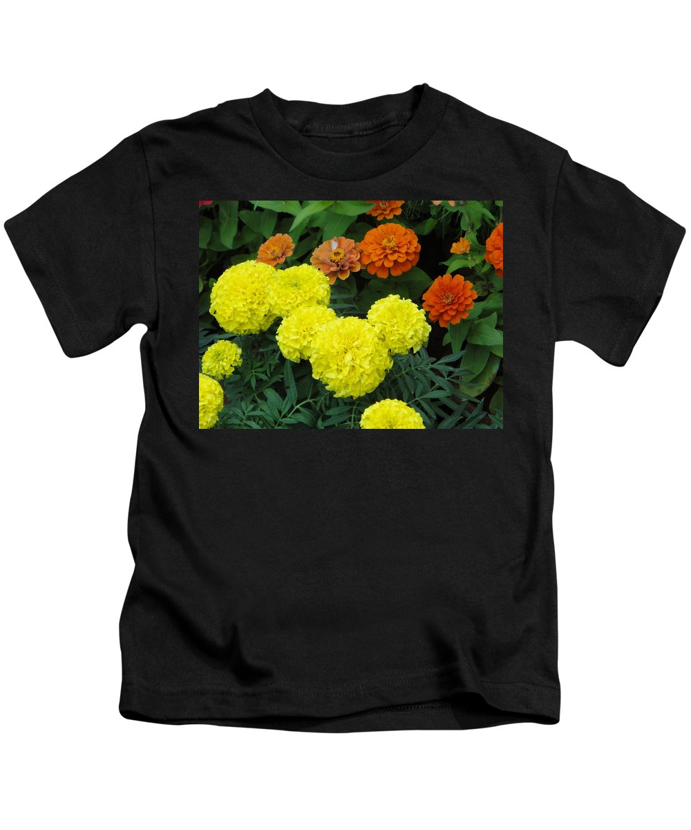 Marigold Kids T-Shirt featuring the photograph Marigold And Zinnias by Usha Shantharam