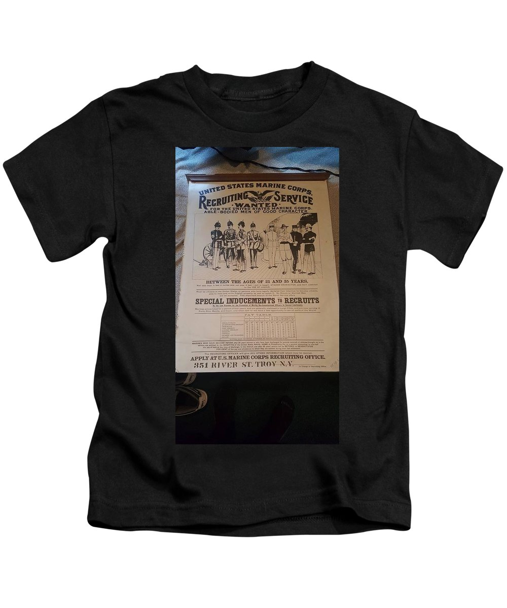 Marine Corp Recruiting Poster United States Marine Corps Kids T-Shirt featuring the photograph Marine Corp Recruiting by Aaron Kautz