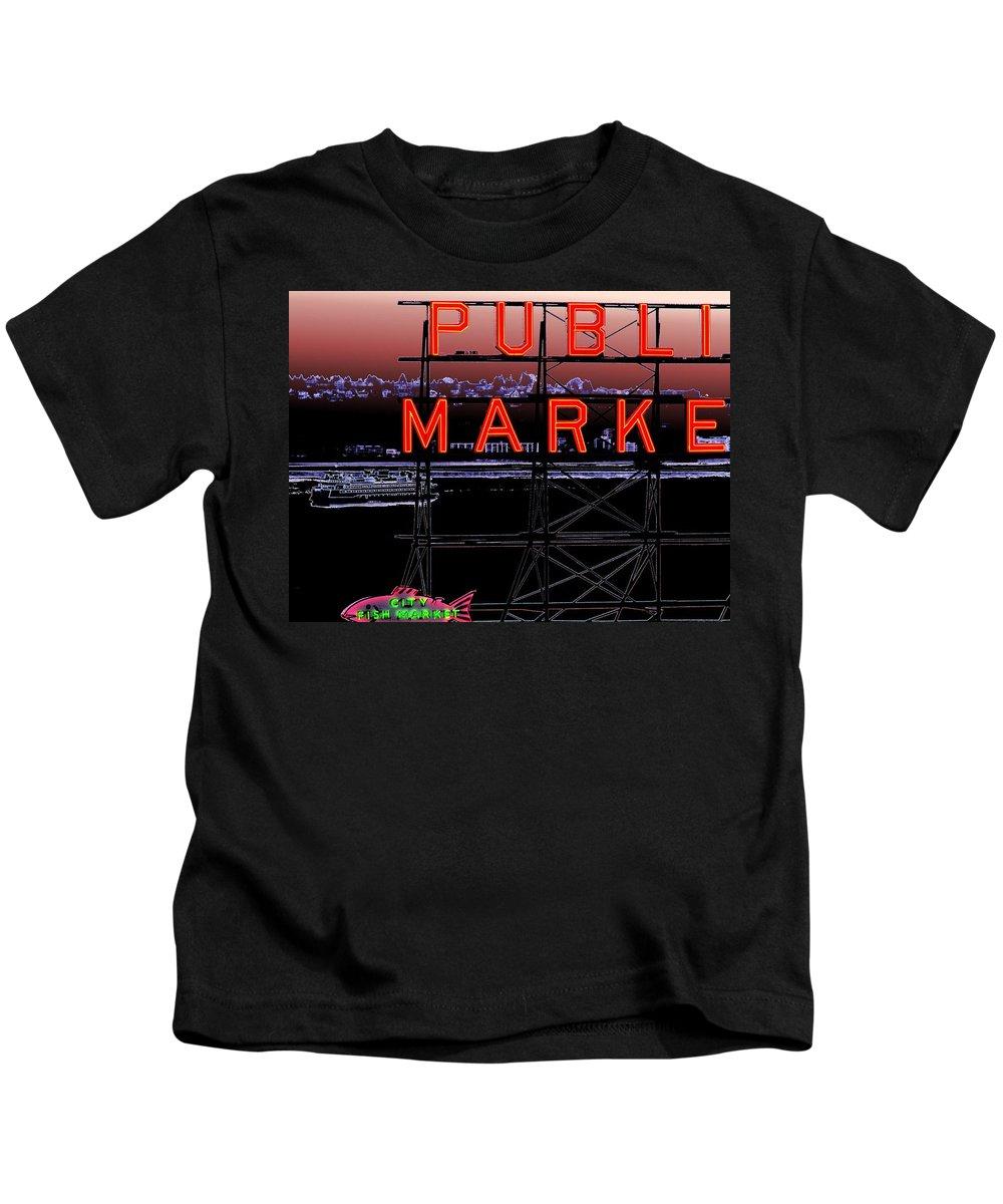 Seattle Kids T-Shirt featuring the digital art Market Ferry 2 by Tim Allen