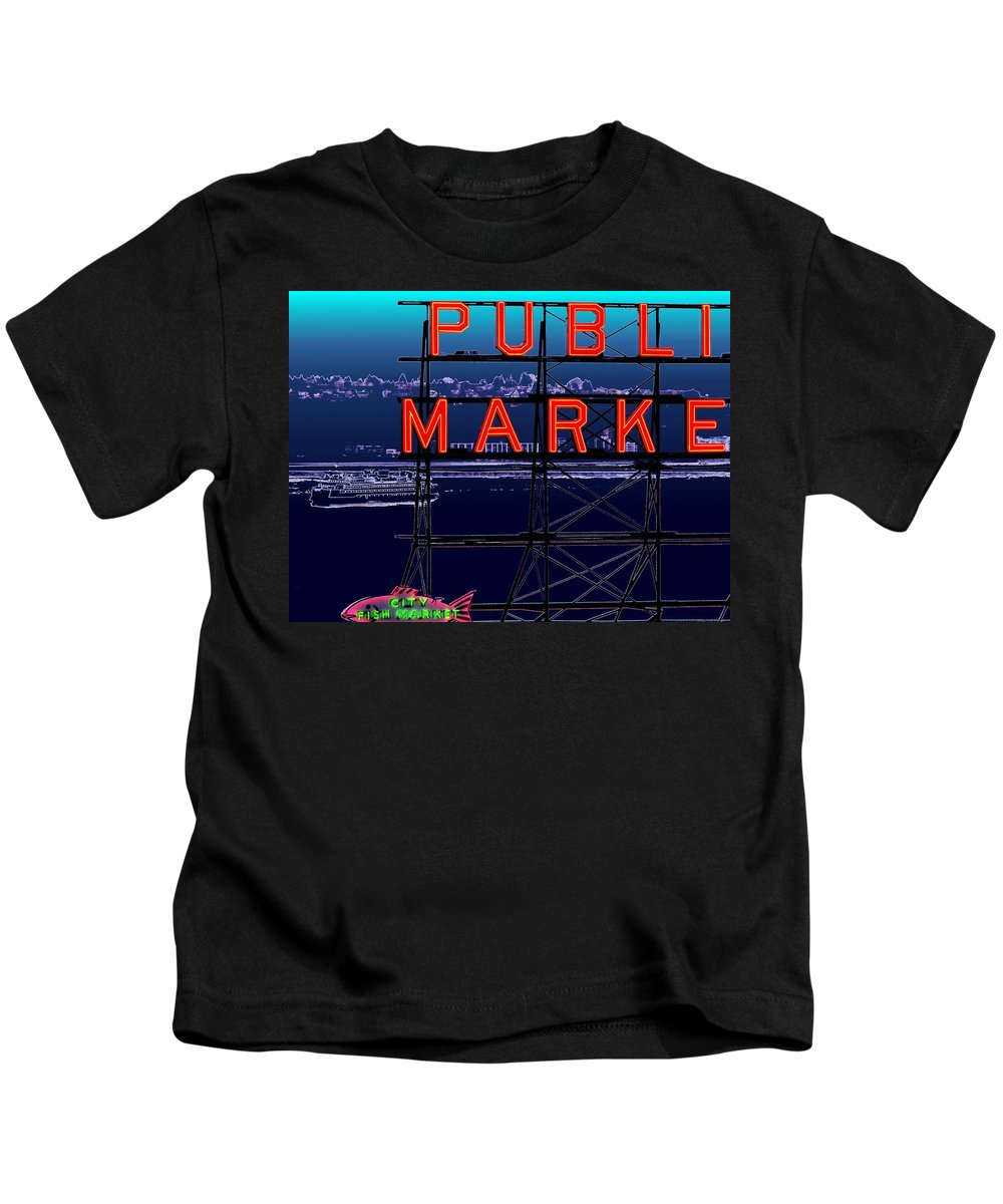 Seattle Kids T-Shirt featuring the digital art Market Ferry by Tim Allen