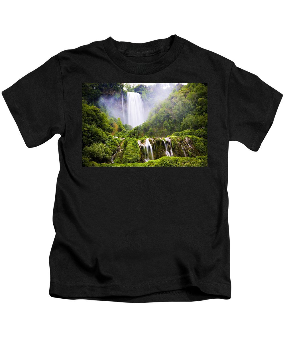 Italy Kids T-Shirt featuring the photograph Marmore Waterfalls Italy by Marilyn Hunt