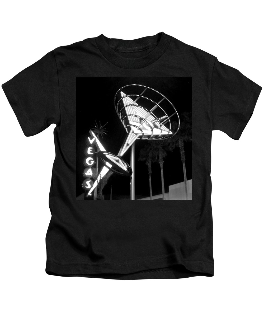Martini Kids T-Shirt featuring the photograph Martini Sign In Vegas B-w by Anita Burgermeister