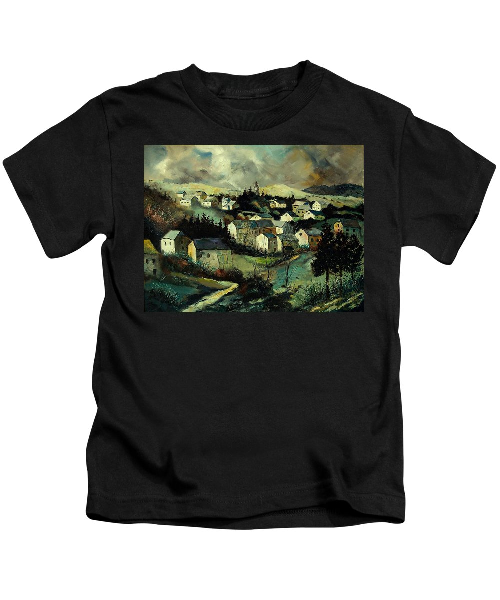 Winter Kids T-Shirt featuring the painting Masbourg by Pol Ledent