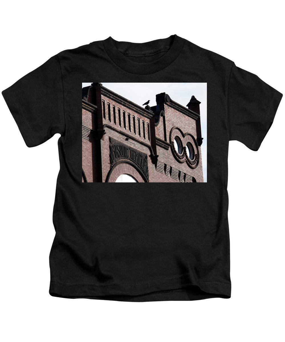 Masonic Historic Temple Building Architecture Bird Gothic Ashland Wisconsin Landmark Kids T-Shirt featuring the photograph Masonic Gothic by Pete Mikelson
