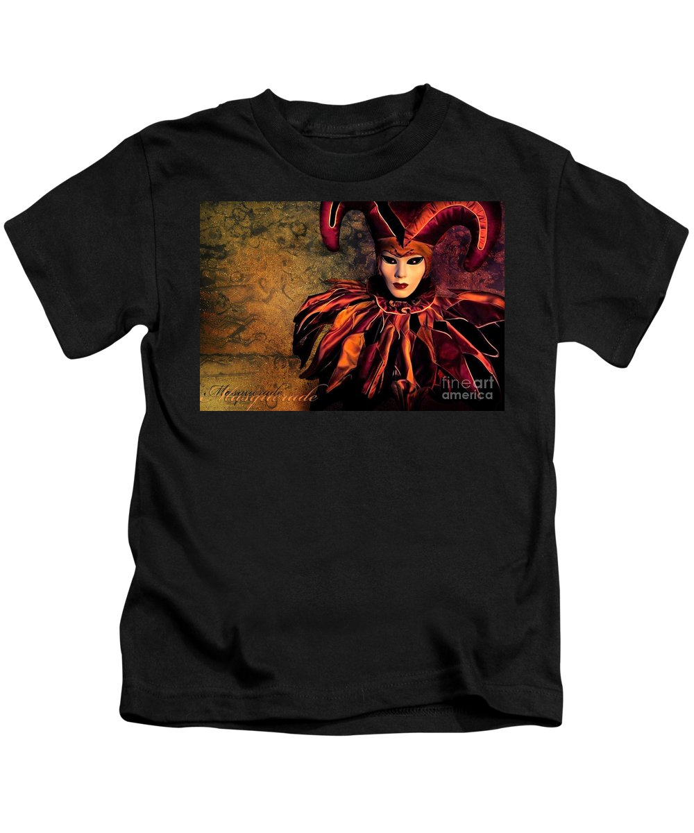 Mask Kids T-Shirt featuring the photograph Masquerade by Jacky Gerritsen