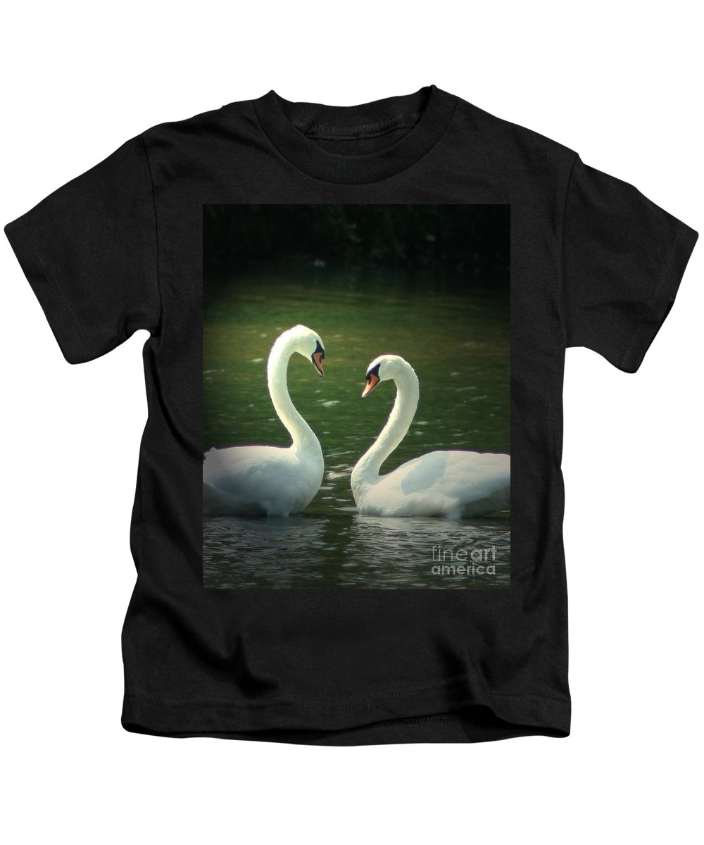 Nature Wildlife Ohio Waterscape Landscape Swans Lake Pond Kids T-Shirt featuring the photograph Mates For Life by Dawn Downour