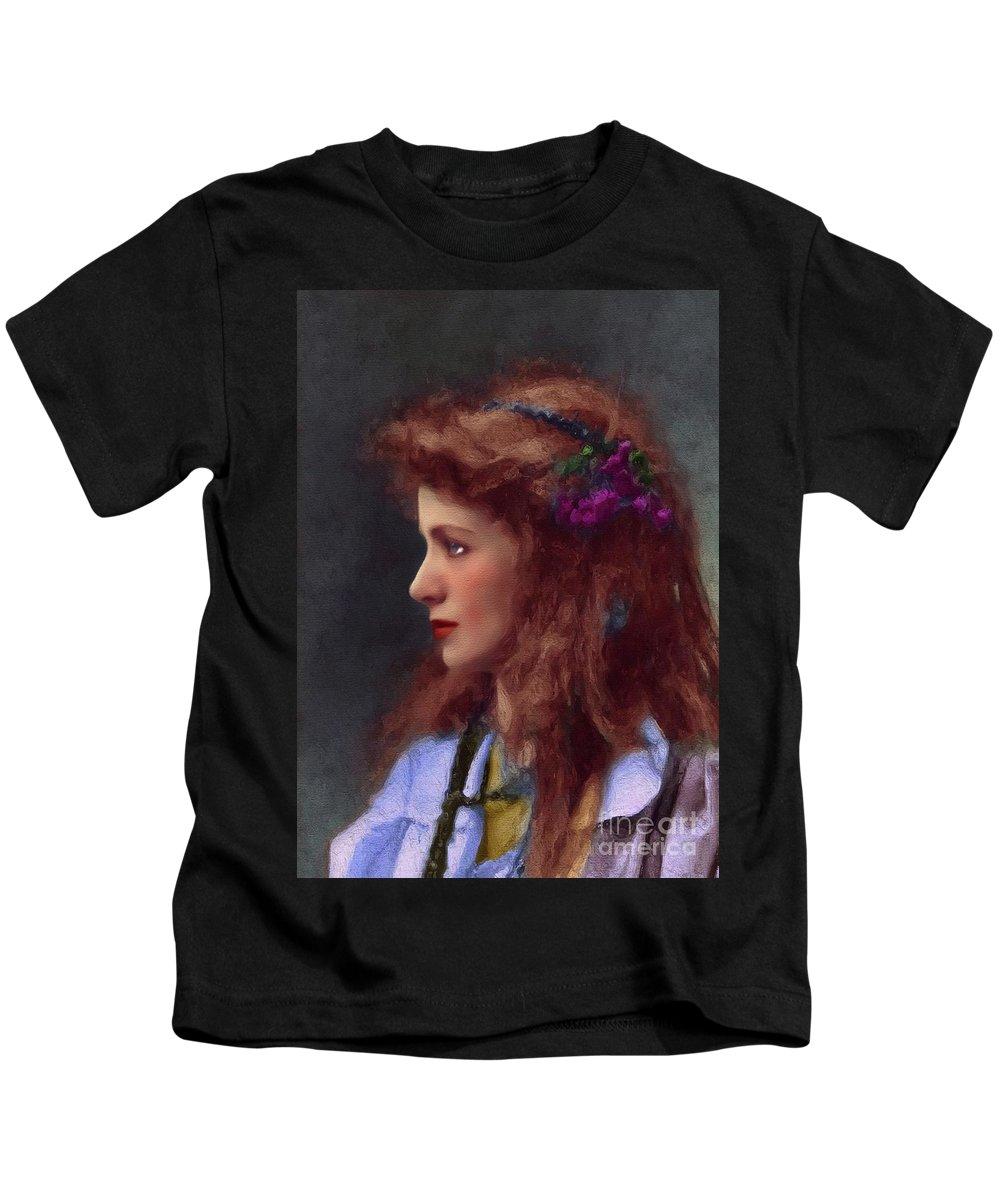 Maude Kids T-Shirt featuring the painting Maude Adams, Vintage Actress by John Springfield