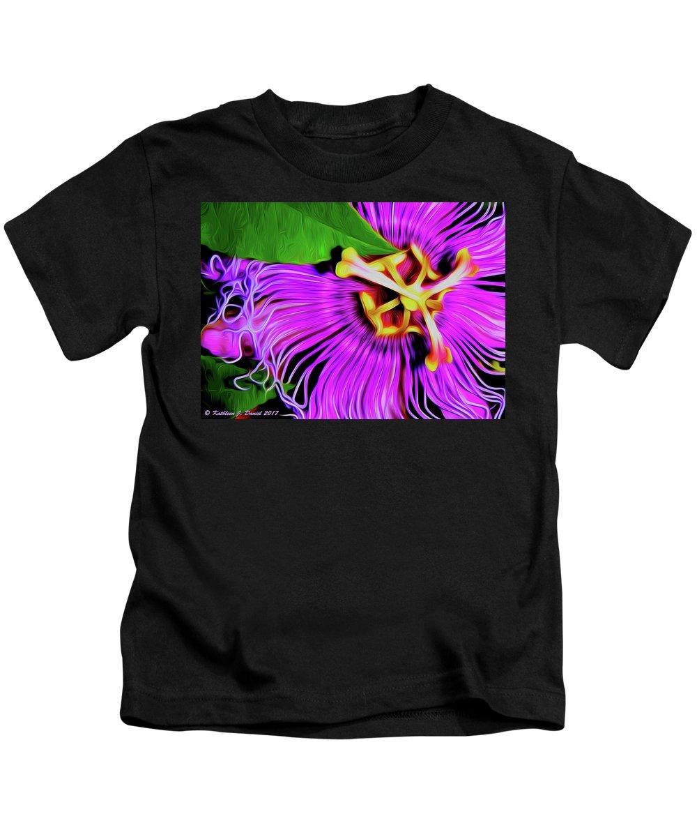 Passionfruit Flower Kids T-Shirt featuring the photograph Maypop by Kathleen J Daniel