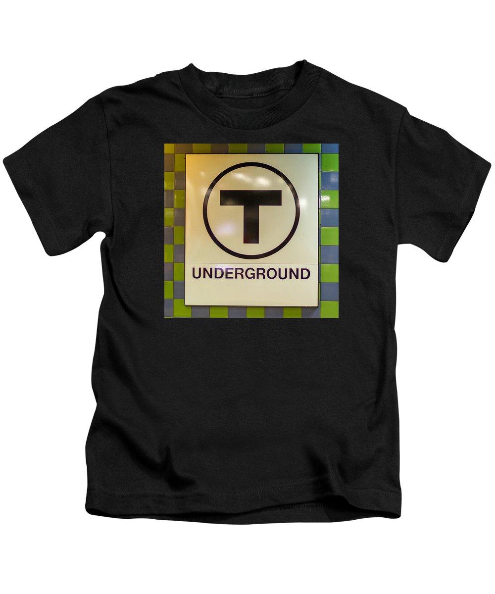 Boston Kids T-Shirt featuring the photograph Mbta Underground by Jeff Cutler
