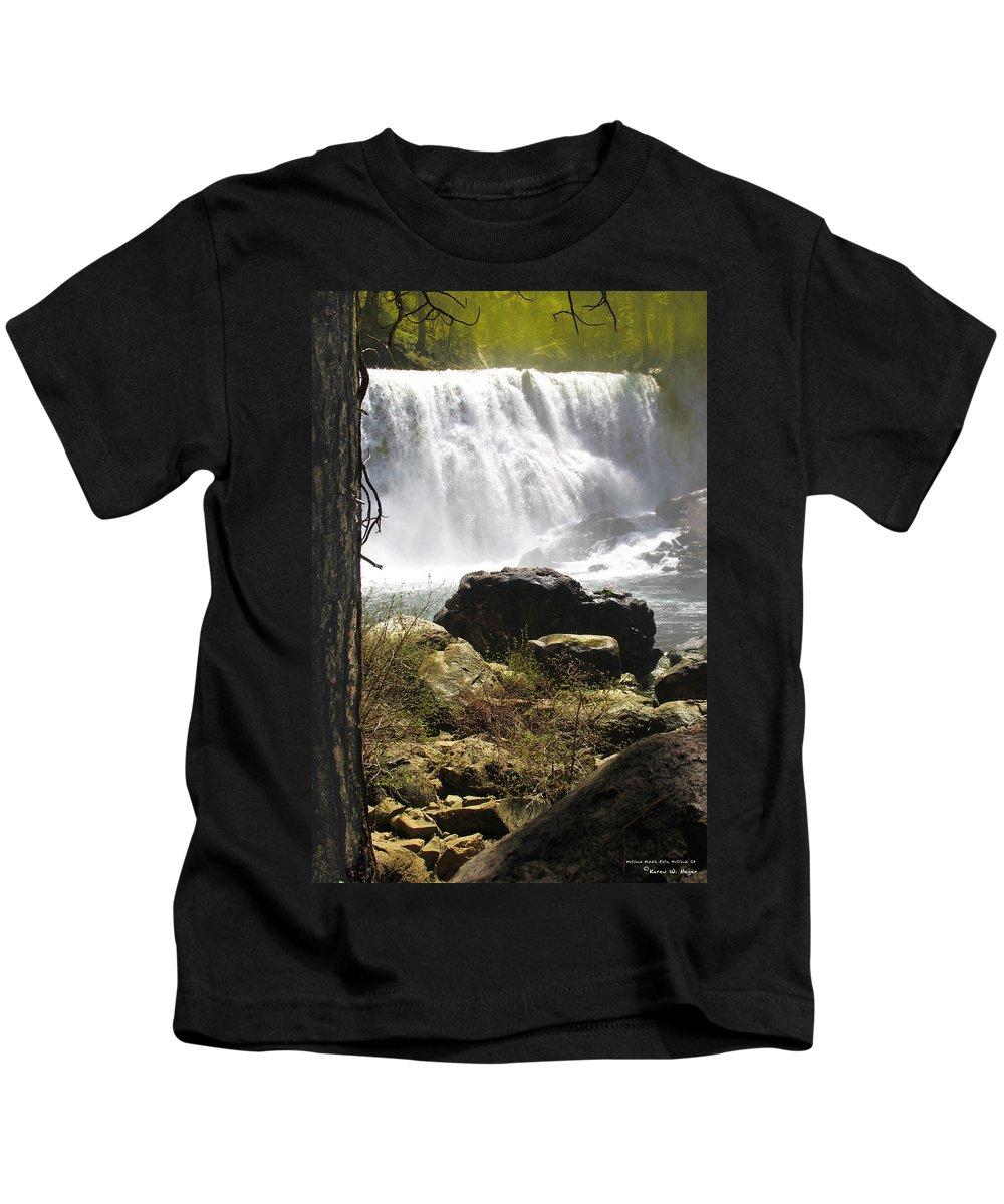 Landscape Kids T-Shirt featuring the photograph Mccloud Middle Falls by Karen W Meyer