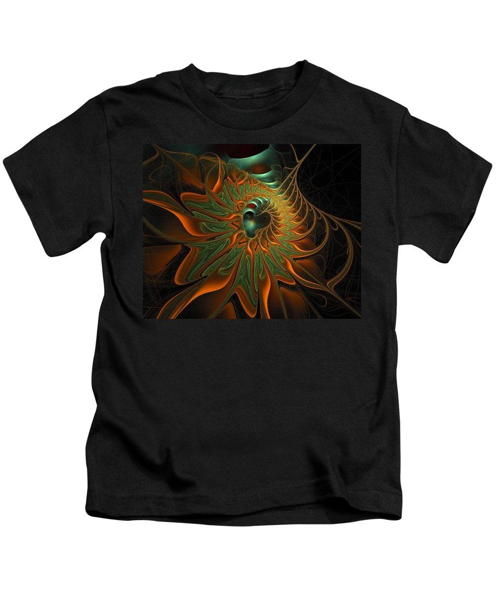 Digital Art Kids T-Shirt featuring the digital art Meandering by Amanda Moore