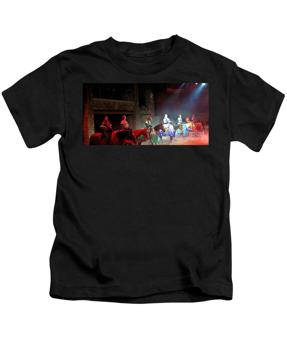 Medieval Times Dinner Theatre In Las Vegas Kids T-Shirt featuring the photograph Medieval Times Dinner Theatre In Las Vegas by John Malone