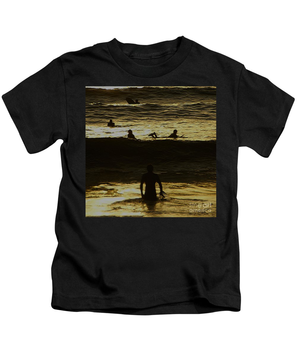 Ocean Kids T-Shirt featuring the photograph Meditari - Gold by Linda Shafer