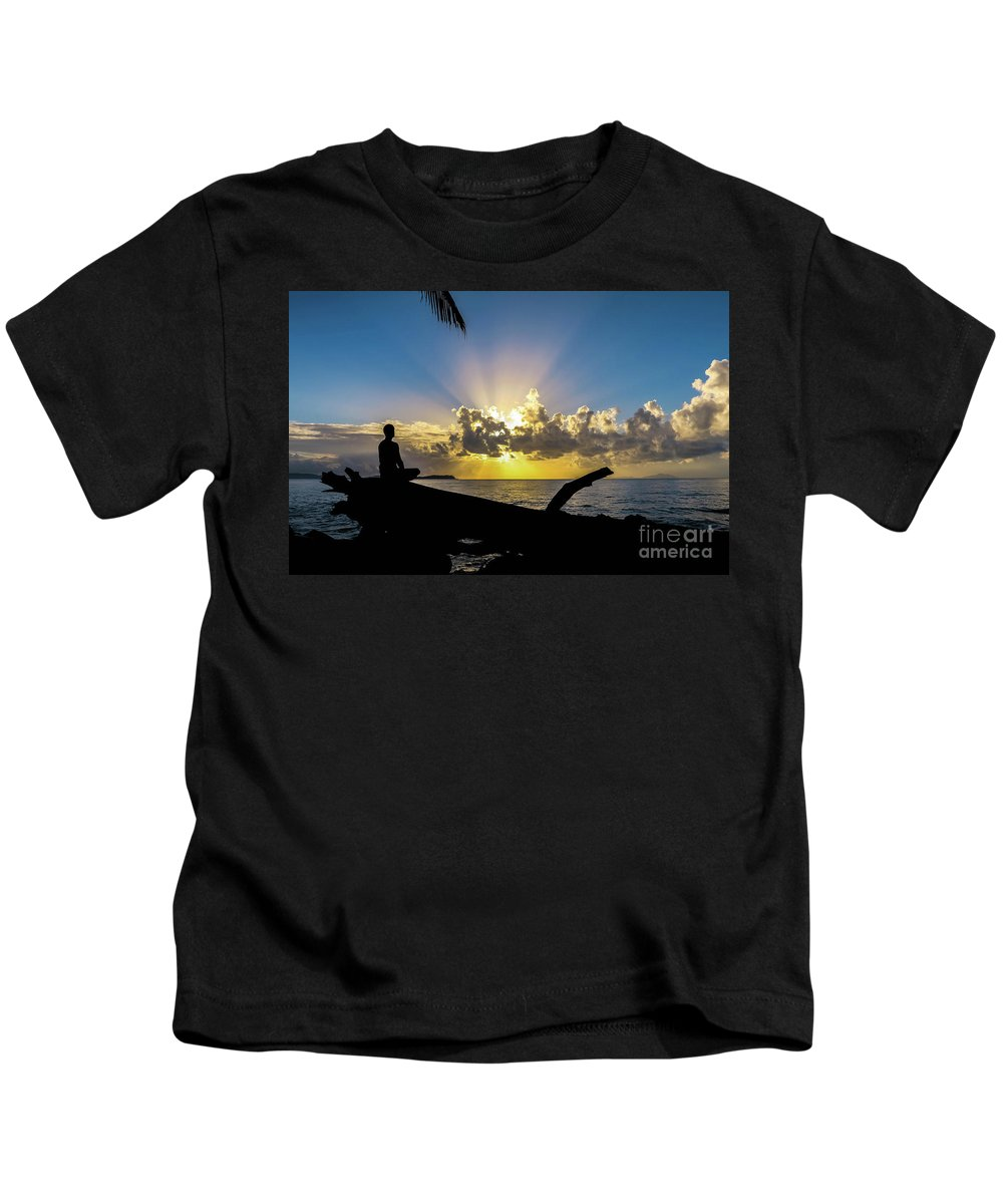Sunrise Kids T-Shirt featuring the photograph Meditating At Sunrise by Charles Miner Rosado
