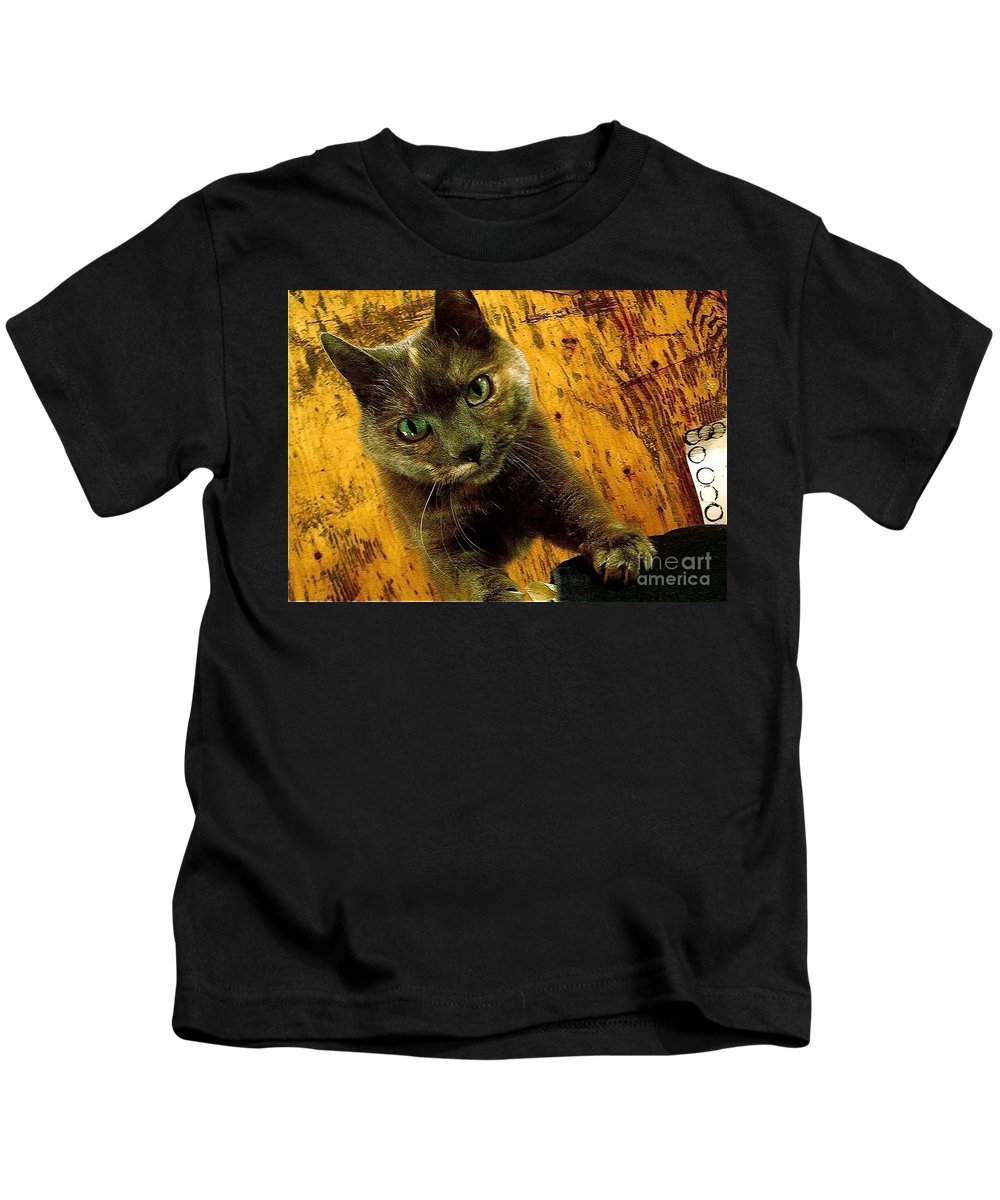 Feline Kids T-Shirt featuring the photograph Meep by Contemporary Luxury Fine Art