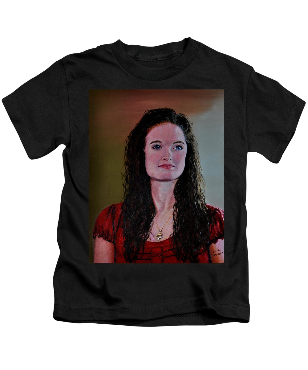 Woman Kids T-Shirt featuring the painting Megan At Eighteen by Stan Hamilton