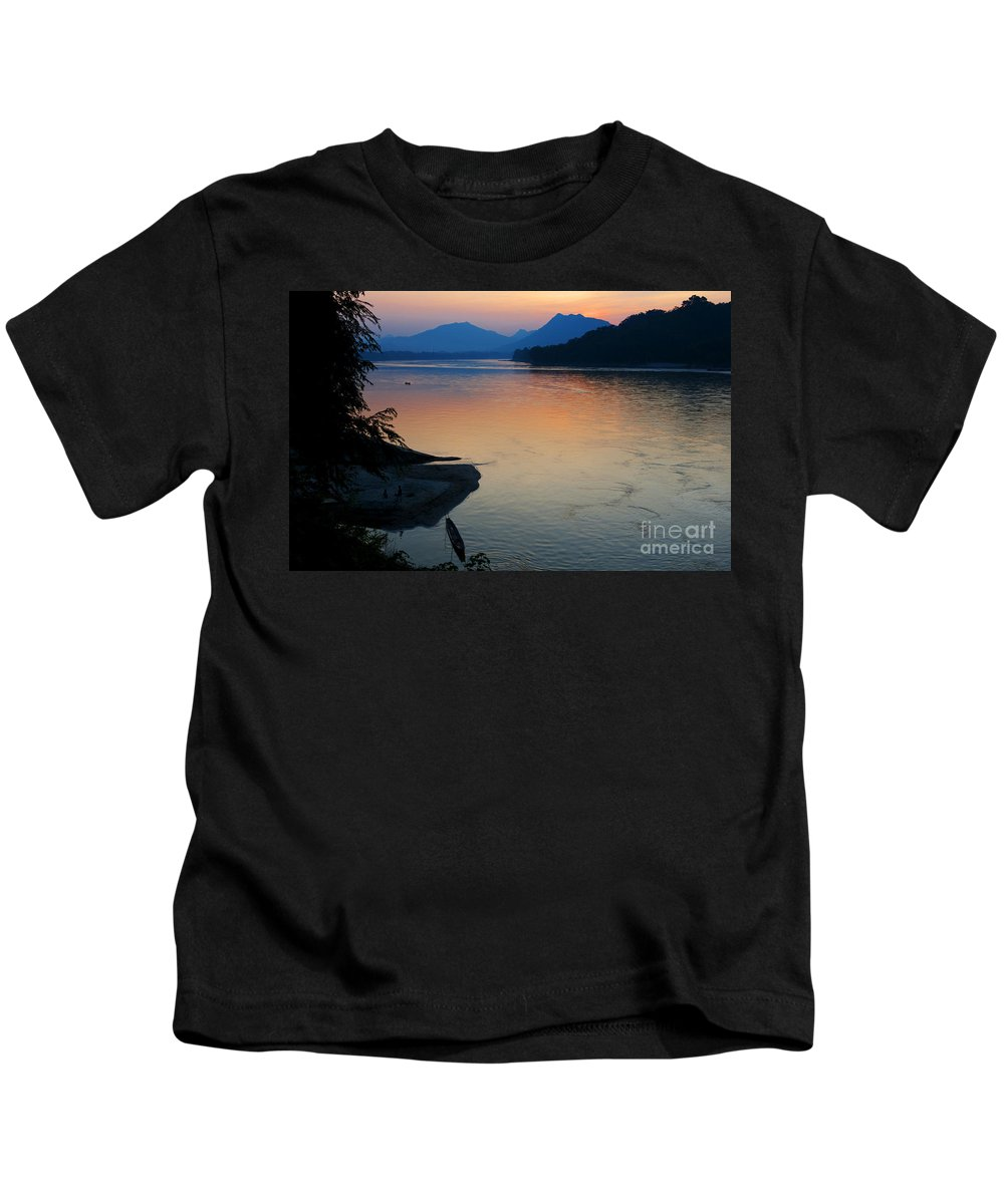 Alone Kids T-Shirt featuring the photograph Mekong River Sunset by Bill Bachmann - Printscapes