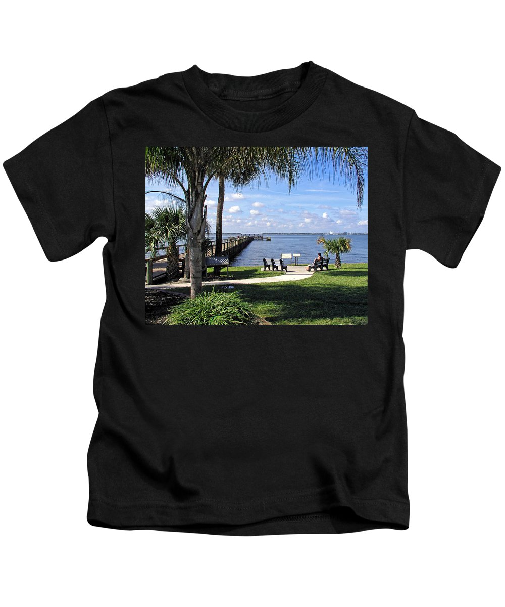 Melbourne; Beach; Pier; Florida; Peaceful; Peace; Indian; River; South; Scene; Scenery; South; South Kids T-Shirt featuring the photograph Melbourne Beach Pier In Florida by Allan Hughes