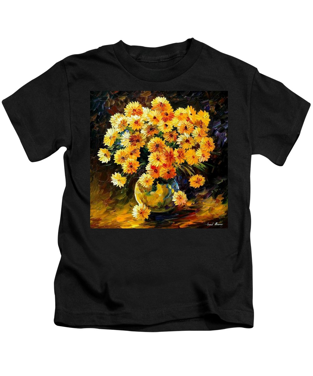 Still Life Kids T-Shirt featuring the painting Melody Of Beauty by Leonid Afremov