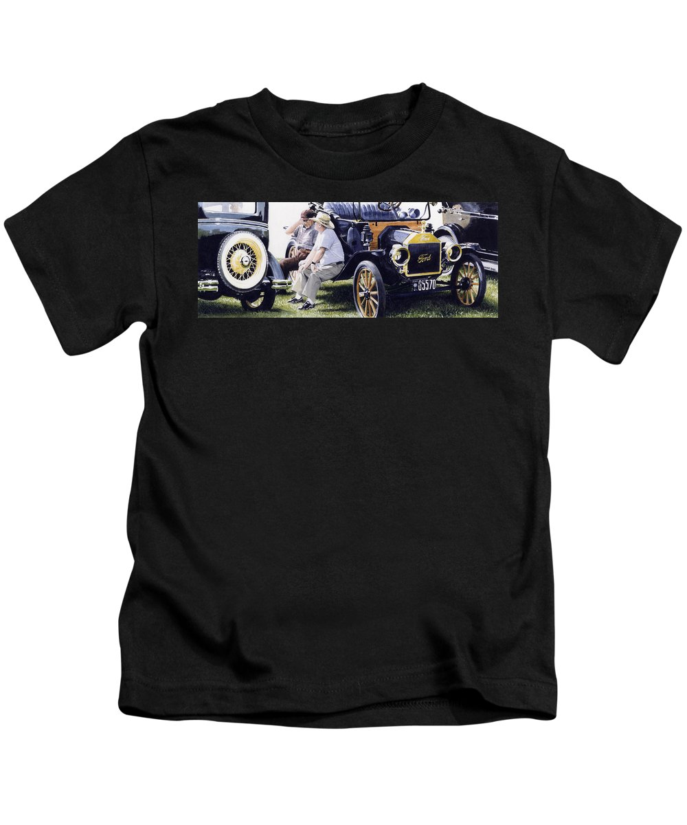 Antique Cars Kids T-Shirt featuring the painting Men And Their Toys by Denny Bond