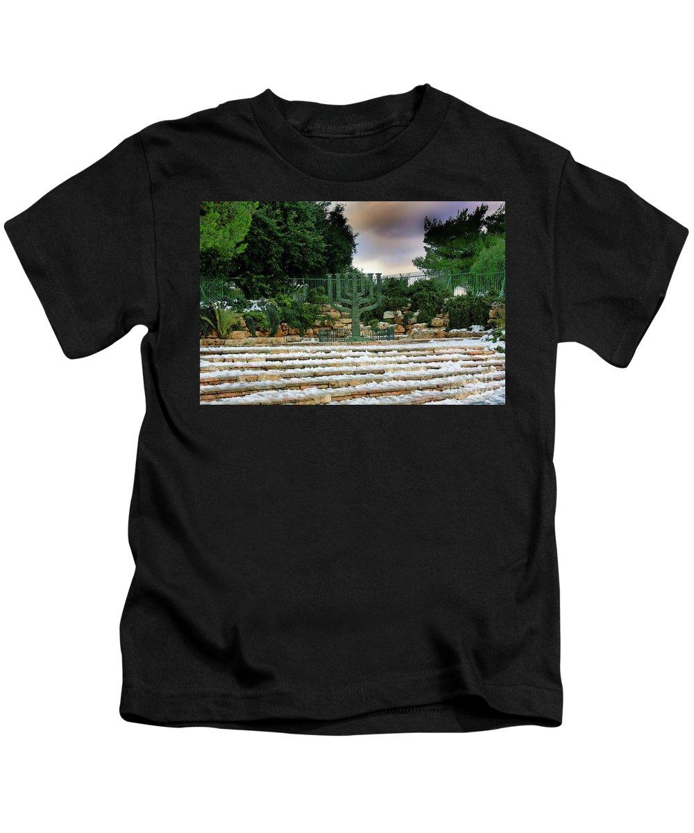 Israel Kids T-Shirt featuring the photograph Menorah At Knesset by Nir Ben-Yosef