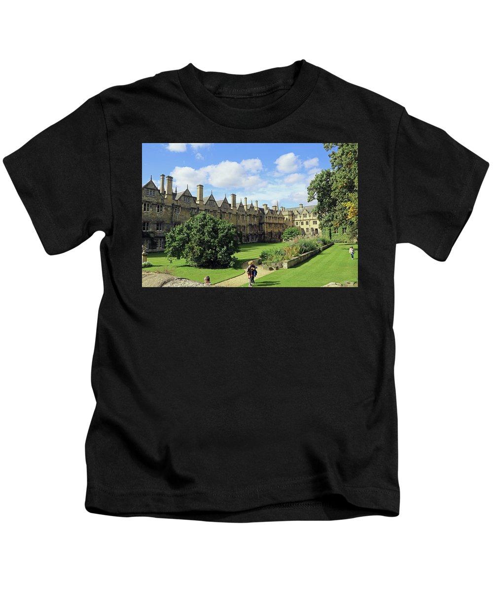 Merton College Gardens Kids T-Shirt featuring the photograph Merton Gardens by Tony Murtagh