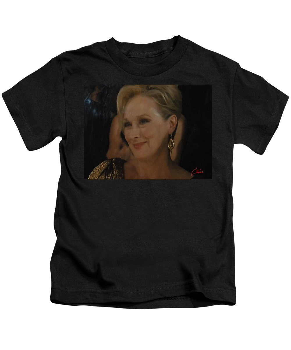 Colette Kids T-Shirt featuring the photograph Meryl Streep Receiving The Oscar As Margaret Thatcher by Colette V Hera Guggenheim