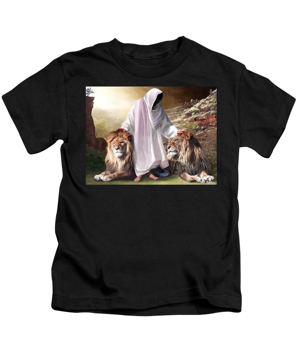 Spiritual Kids T-Shirt featuring the digital art Messiah Israel And Judah by Bill Stephens